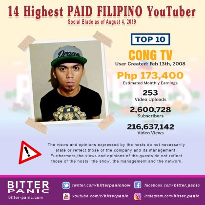 14 Highest PAID FILIPINO YouTuber - Cong TV