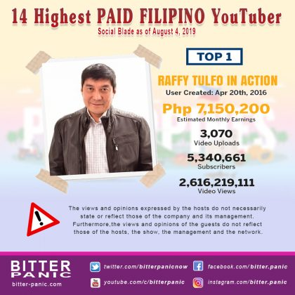 14 Highest PAID FILIPINO YouTuber - Raffy Tulfo in Action